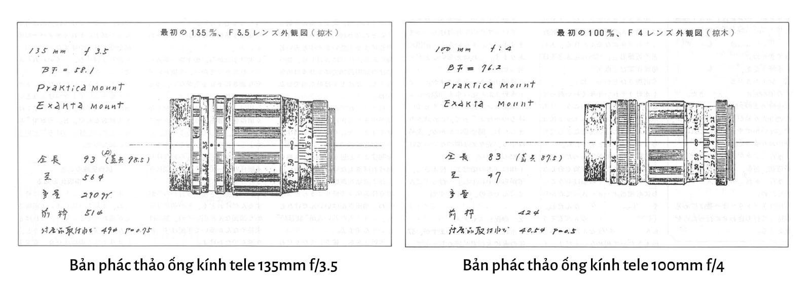 Bản phác thảo các mẫu ống kính Tokina đầu tiên được sản xuất