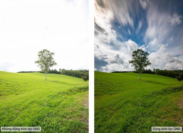 Ảnh chụp trước và sau khi dùng Kính lọc HOYA PROND16 GRAD