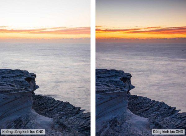 Ảnh chụp trước và sau khi dùng Kính lọc HOYA PROND16 GRAD 2