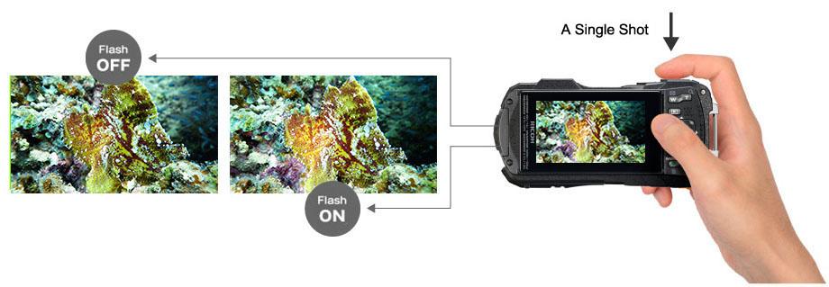 Chế độ bật tắt flash trên máy ảnh WG-70