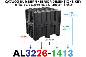 Kích thước thùng bảo vệ chuyên nghiệp Pelican Lid Case al3226-1413 1